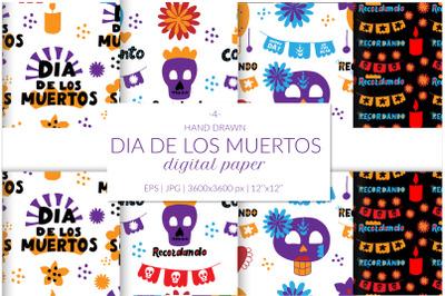Dia de los muertos digital paper pack. Sugar skull lady digital paper.