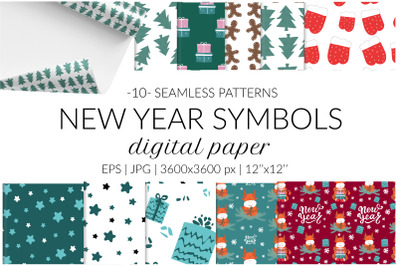 New Year digital paper pack. Christmas seamless pattern. Bull symbol 2