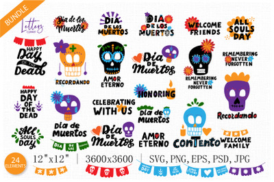 Dia de los muertos, day of the dead clipart and hand lettering quotes