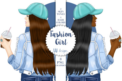 Fashion Coffee Girl Clip Art, Fashion Girl Illustrations, Planner Girl
