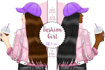 Fashion Girl Clipart, Coffee Lover Planner Girl Fashion Illustration