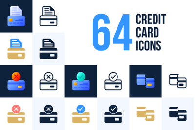 Set of 64 credit card icons