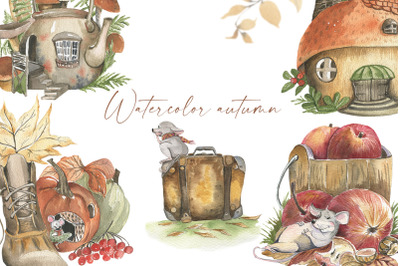 Autumn watercolor. Cozy season