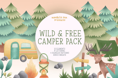 Wild and Free Camper Clipart Pack