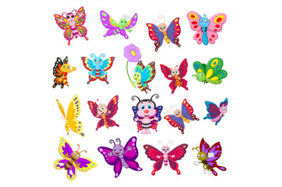 Set of Eighteen Cartoon Butterflies Character
