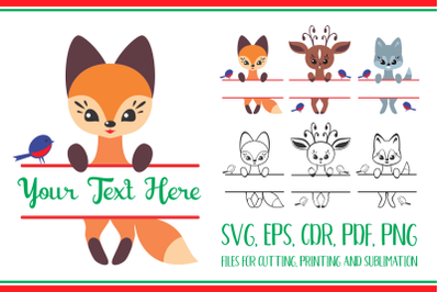 Cute forest animals. Split for name. Christmas Svg set