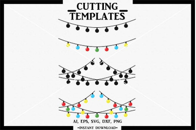 Christmas Lights SVG, Christmas, Silhouette, Cameo, Cricut