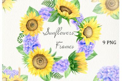 Watercolor sunflower, hydrangea and wheat clipart. Boho sunflower
