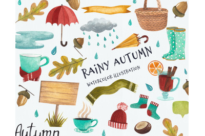 Rainy autumn, autumn set, watercolor autumn, illustration - clipart