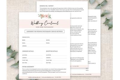 Wedding Photography Contract Template | Wedding Agreement