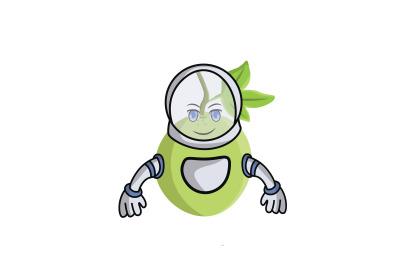 Passion Fruit Astronaut Cartoon Character