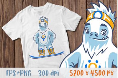 Yeti png Snowboarder t shirt Snowboarding shirt Bigfoot png