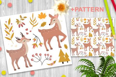 Cute fawn autumn forest set