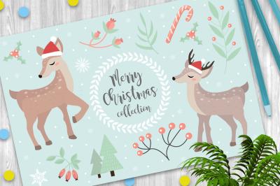 Merry christmas set with cute deer