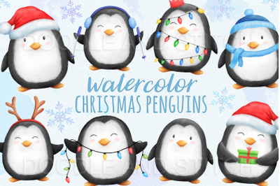 Christmas Penguins Watercolor Illustrations