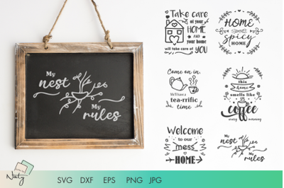 Home quotes and illustrations SVG and DXF files.