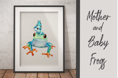 Watercolour Mother and Baby Frogs - Clip Art and Print
