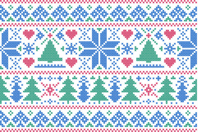 Christmas nordic embroidery style.