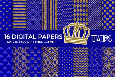 Royal Blue & Gold Foil Digital Papers Set, Free Clipart