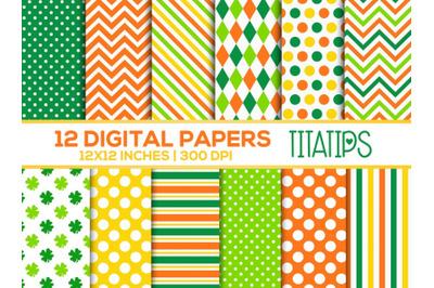 St. Patrick's Day Digital Papers Set, Shamrock Patterns