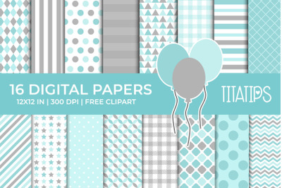 Light Blue & Gray Digital Papers Set, Free Balloons Clipart