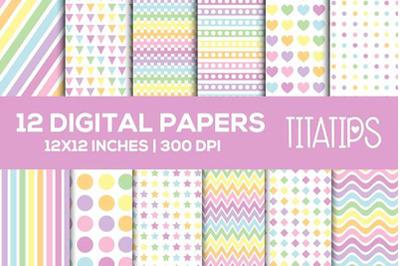 Rainbow Digital Papers Set, Pastel Colors