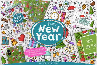 New Year Objects and Elements Set, Patterns, Designs