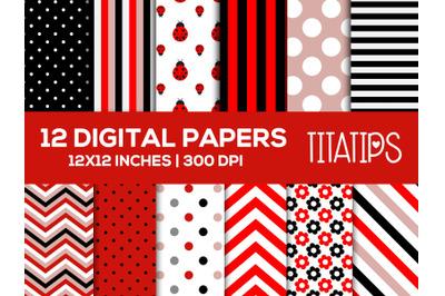 Red Ladybug Digital Papers Set, Flowers Background