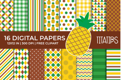 Summer Digital Papers Set, Free Pineapple Fruit Clipart