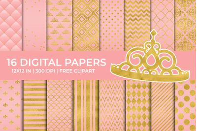 Pink & Gold Foil Digital Papers Set, Princess Tiara Clipart