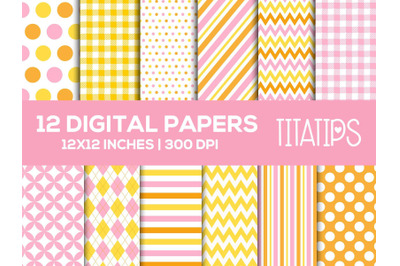 Pink and Yellow Digital Papers Set, Baby Shower Patterns