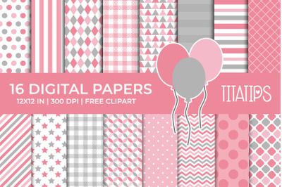 Pink & Gray Digital Papers Set, Free Balloons Clipart