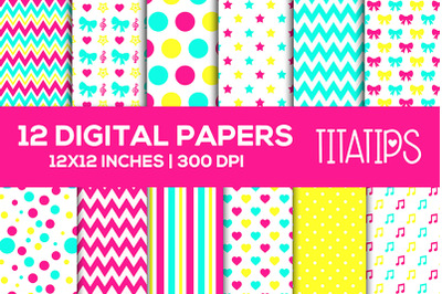 Bows and Stars Digital Papers Set, Hearts, Music Notes