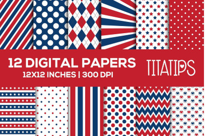 Blue and Red Digital Papers Set, Independence Backgrounds