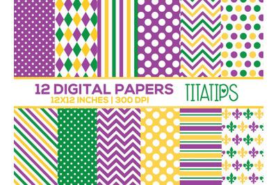 Mardi Gras Digital Papers Set, Purple, Green, and Yellow