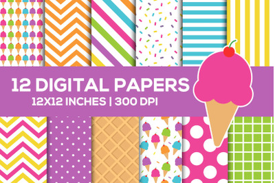 Ice Cream Digital Papers Set, Summer Backgrounds