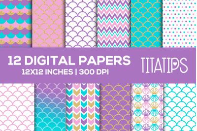 Mermaid Scales Digital Papers Set, Blue, Pink, Purple, Gold