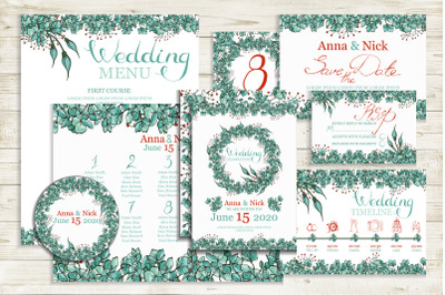 Blue Wedding Invitation Cards Templates