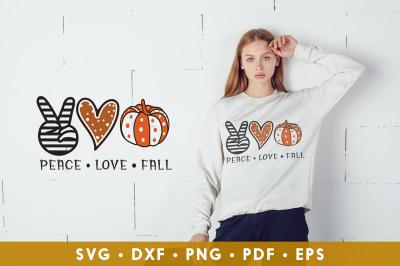 Peace Love Fall SVG, Pumpkin SVG, Fall SVG Cut File
