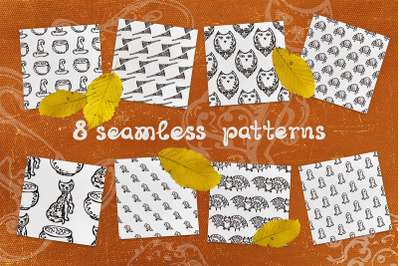 8 patterns with Halloween elements