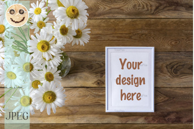 White small frame mockup with daisy wildflowers