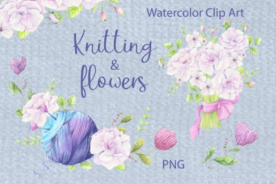 Watercolor clipart delicate pink flowers with knitted handmade element
