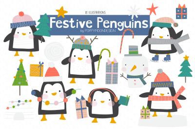 Festive Penguins clipart set