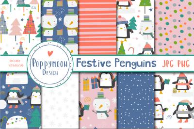 Festive Penguins paper set