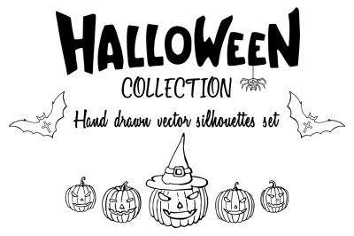 Hand drawn Halloween silhouettes illustrations