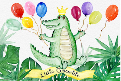 Little Crocodile, Kids Watercolor Clipart.