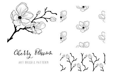 Cherry Blossom 2. Floral Design Element. Art Brush. Patterns.