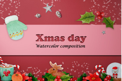 watercolor composition set of Christmas