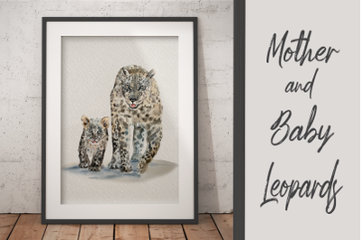 Watercolor Mother and Baby Leopards - Clip Art and Print