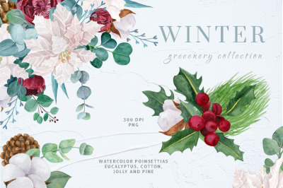 WINTER GREENERY WATERCOLOR CLIPART COLLECTION